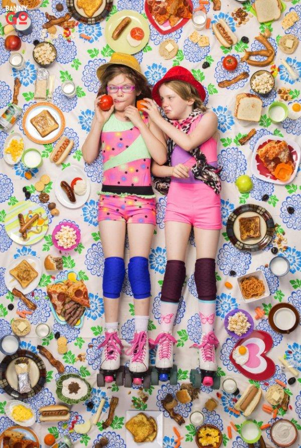 Altadena, California, USA — Alexandra Lewis, 9 (left), and Jessica Lewis, 8