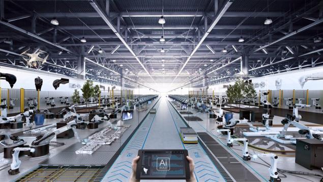 fabrikalarda çalışan robotlar
