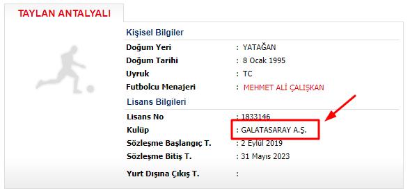 Taylan Antalyalı Galatasaray TFF